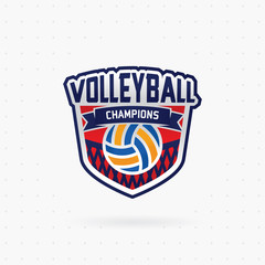 Volleyball championship emblem, designs templates with volleyball ball on a light background