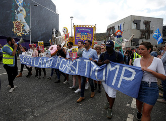 Demonstrators march to protest against the visit of U.S. President Donald Trump, in Edinburgh