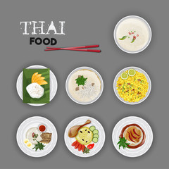 Delicious Thai Food set on grey background.