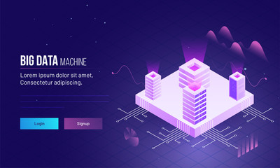 Isometric design of four servers on processor chip, responsive landing page or hero image for Big Data storage or machine concept.