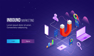 Inbound Marketing based isometric design with magnet as product and other elements are different advertising ways to connect customer or user.