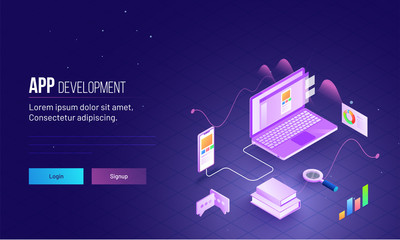 Isometric design of laptop connected with smartphone for mobile app testing concept based landing page design for App Development.