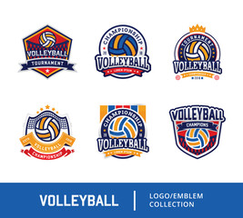 Set of Volleyball badge design logo emblem, Sport emblem insignia templates collection on a light background