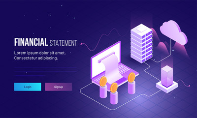 Landing page design for financial statement concept with 3D illustration of laptop, coins and server.