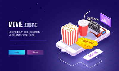 Isometric view for responsive landing page design with fast food and cinema hall equipment on smartphone for Movie Booking concept based landing page.