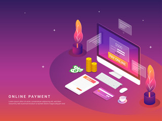 Isometric, online payment concept. Internet payments by card and bill. Secure money transfer with stack of coins.