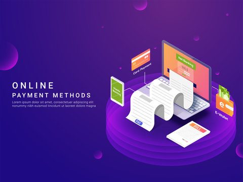 Isometric, online payment ways or option concept. Internet payments by card, net banking and e-wallets and payment receipt. Secure money transfer. Laptop device.