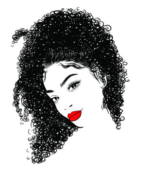 Hand-drawn black woman with curly luxurious hair and big sexy lips.Girl with perfectly shaped eyebrows and full lashes. Idea for business visit card, typography vector.Perfect salon look.