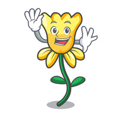 Waving daffodil flower character cartoon
