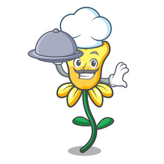 Chef with food daffodil flower mascot cartoon