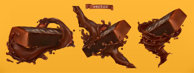 Chocolate bar with splash. 3d realistic vector