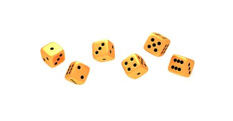 Set of six golden dice