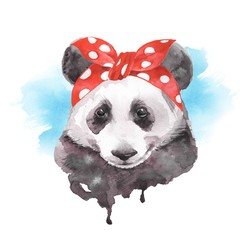 Cute panda wearinf bandana. Watercolor illustration