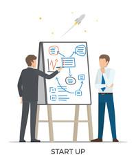 Start Up and Rocket Vector Illustration White