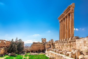 Ancient columns in Baalbek, Lebanon