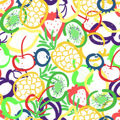 Vector seamless pattern with hand drawn fruits