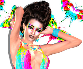 Modern fashion, hairstyle and art scene with water color butterflies background that matches the woman's colorful dress.  Our unique 3d rendered digital model art scenes are eye catching and powerful