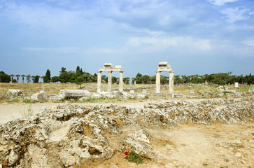 Ancient columns in Hierapolis city,Turkey