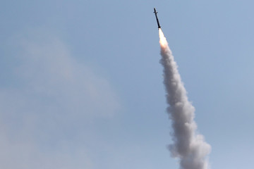 An Iron Dome launcher fires an interceptor rocket in the southern Israeli city of Ashkelon