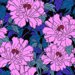 Seamless pattern with poppy, Peonies or roses flowers
