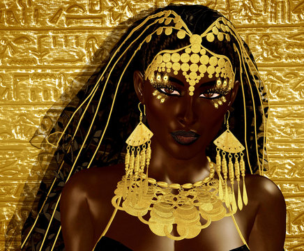 Egyptian Magic Woman Goddess in gold jewelry and costume against gold gradient background.Our original 3d rendered digital model art creation shows off the mystery, beauty, wealth and power of Egypt.