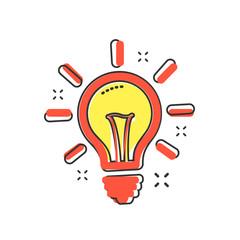 Vector cartoon light bulb icon in comic style. Lighting electric sign illustration pictogram. Idea lightbulb business splash effect concept.