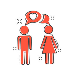 Vector cartoon man and woman with heart icon in comic style. People sign illustration pictogram. Relations business splash effect concept.