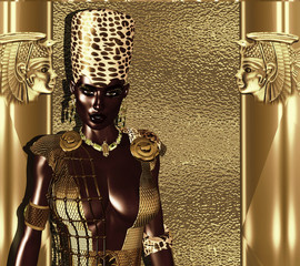 Black Egyptian Goddess Queen. Leopard print crown, gold glitter and sparkle background,matching make up and accessories. Unique 3d rendered digital model and art creation.