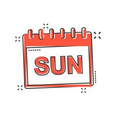 Vector cartoon sunday calendar page icon in comic style. Calendar sign illustration pictogram. Sunday agenda business splash effect concept.