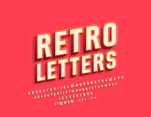 Vector Retro Bright Alphabet Letters, Numbers and Symbols. Vintage Stylish Font for Logo, Emblem, Banner