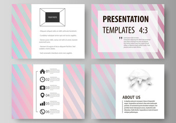 Set of business templates for presentation slides. Easy editable abstract vector layouts in flat style. Sweet pink and blue decoration, pretty romantic design, cute candy background.