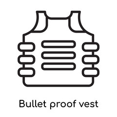 Bullet proof vest icon vector sign and symbol isolated on white background, Bullet proof vest logo concept, outline symbol, linear sign