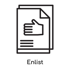 Enlist icon vector sign and symbol isolated on white background, Enlist logo concept, outline symbol, linear sign