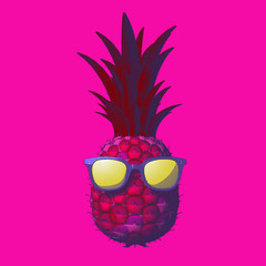 Pineapple drawing illustration isolated on pink BG