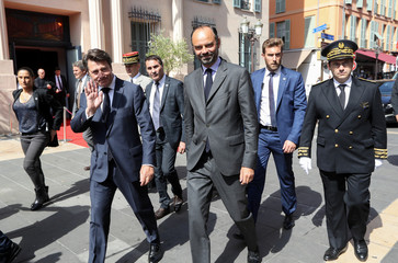 French PM Edouard Philippe walks with Mayor of Nice Christian Estrosi in Nice