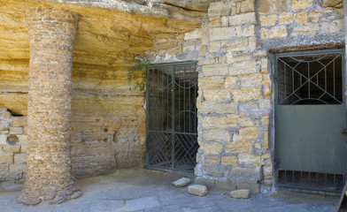 entrance to the catacombs with metal door