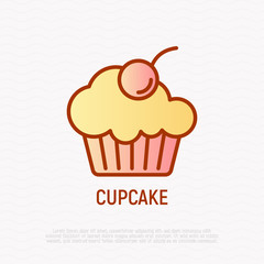 Cupcake with berry thin line icon. Modern vector illustration of bakery.
