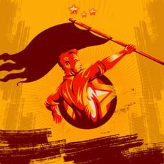 Revolution Poster. Propaganda Background Style. Revolution raising The Flag.