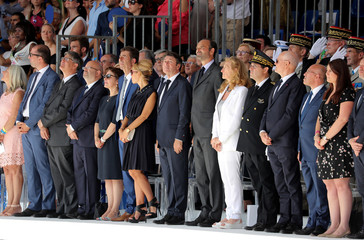 French Prime Minister Edouard Philippe, Mayor of Nice Christian Estrosi, Laura Estrosi and French Justice Minister Nicole Belloubet take part in a ceremony, in Nice