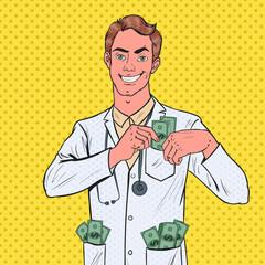 Pop Art Male Corrupt Doctor Put Money into Pocket. Corruption Concept. Vector illustration