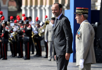 French Prime Minister Edouard Philippe takes part in a ceremony for the second anniversary of attacks on Nice in which 86 people died when a truck was driven into a crowd celebrating Bastille Day on the Promenade des Anglais, in Nice