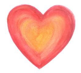 Red-orange heart in watercolor