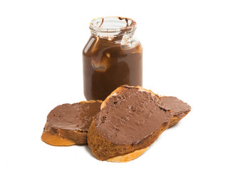 toast with chocolate paste isolated