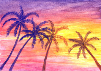 Palm trees on ocean shore at sunset in watercolor