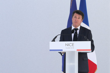 Nice's mayor Christian Estrosi speaks during a ceremony for the second anniversary of attacks on Nice in which 86 people died when a truck was driven into a crowd celebrating Bastille Day on the Promenade des Anglais, in Nice
