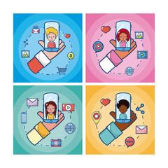 Set of social media cards