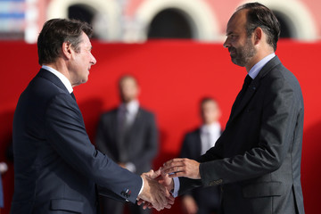 Nice's mayor Christian Estrosi shakes hand with French Prime minister Edouard Philippe  in Nice