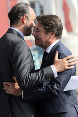 Nice's mayor Christian Estrosi welcomes French Prime minister Edouard Philippe in Nice