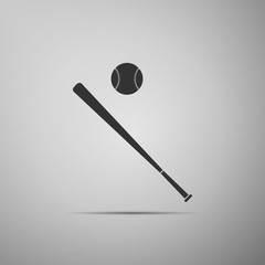 Baseball ball and bat icon isolated on grey background. Flat design. Vector Illustration