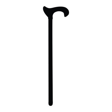 A black and white silhouette of a walking stick